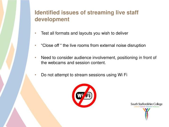 Identified issues of streaming live staff development