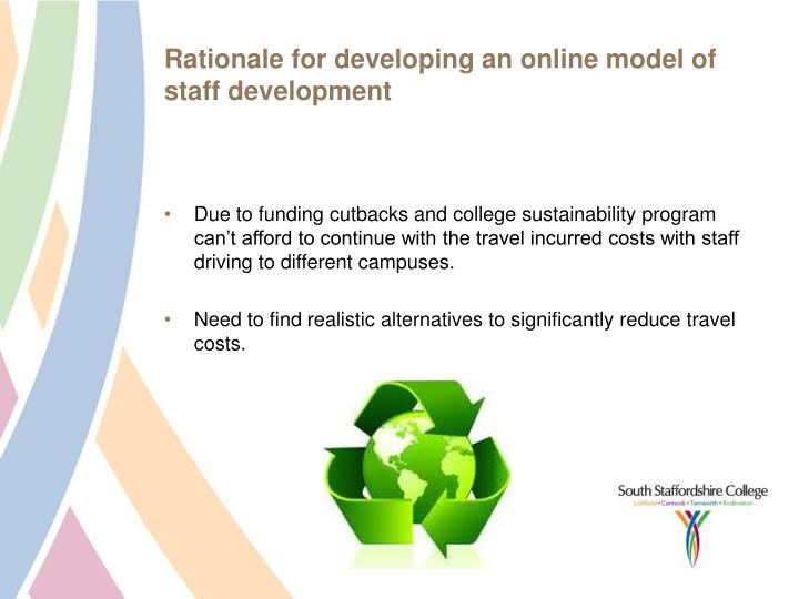 Rationale for developing an online model of staff development