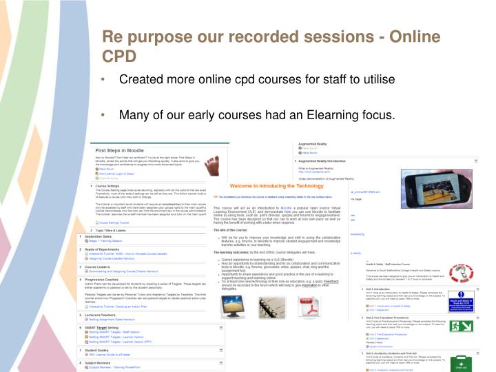Re purpose our recorded sessions - Online CPD