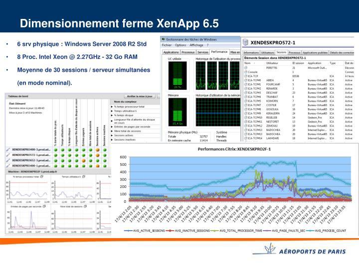 Dimensionnement ferme XenApp 6.5