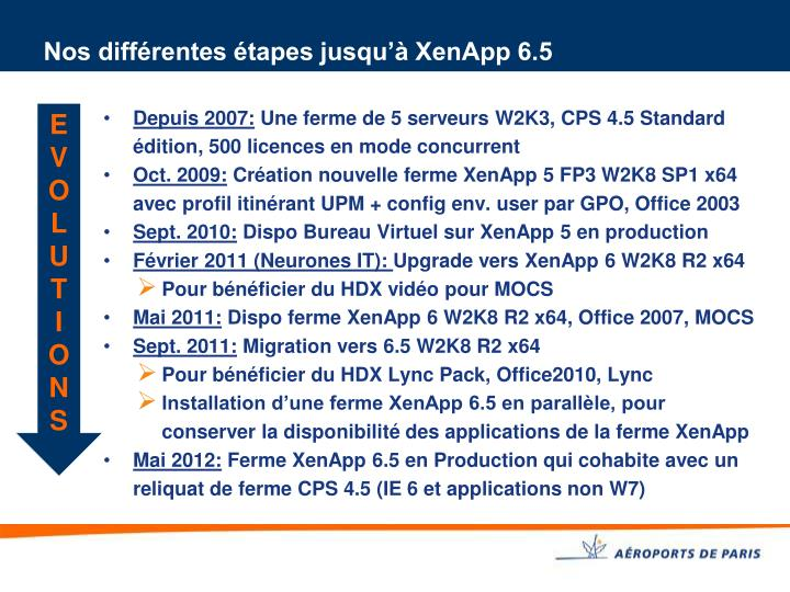 Nos différentes étapes jusqu'à XenApp 6.5