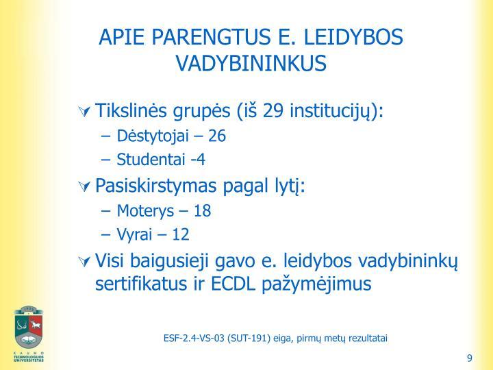 APIE PARENGTUS E. LEIDYBOS VADYBININKUS