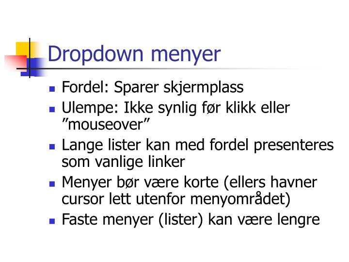 Dropdown menyer