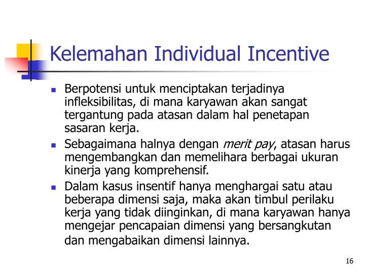 Kelemahan Individual Incentive