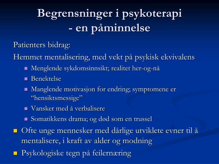 Begrensninger i psykoterapi