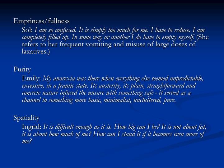 Emptiness/fullness