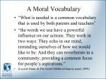 a moral vocabulary