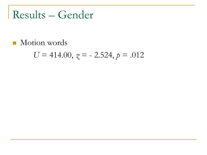 Results – Gender