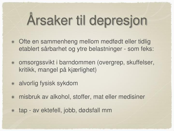Årsaker til depresjon