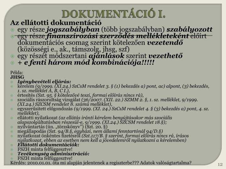 DOKUMENTÁCIÓ I.