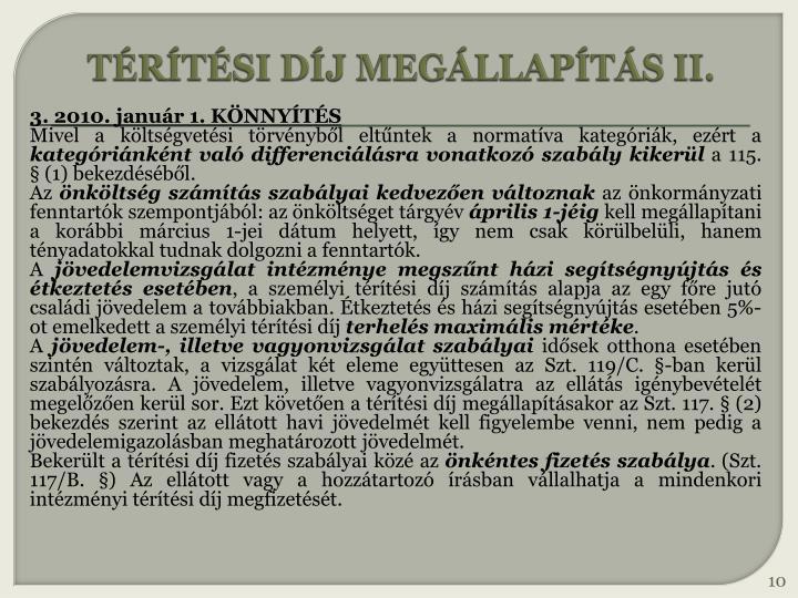 TÉRÍTÉSI DÍJ MEGÁLLAPÍTÁS II.