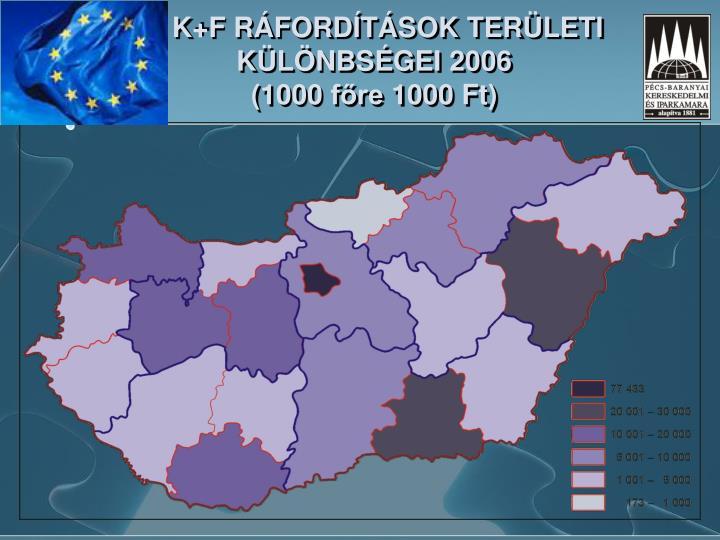 A K+F RÁFORDÍTÁSOK TERÜLETI KÜLÖNBSÉGEI 2006