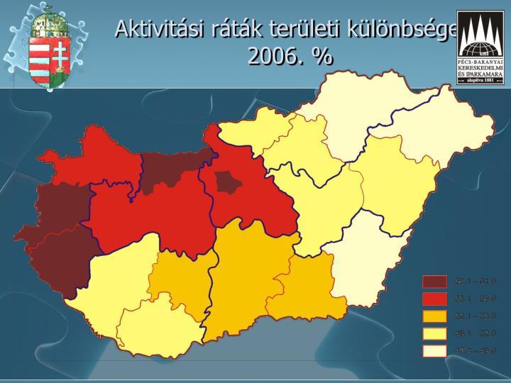 Aktivitási ráták területi különbségei 2006. %