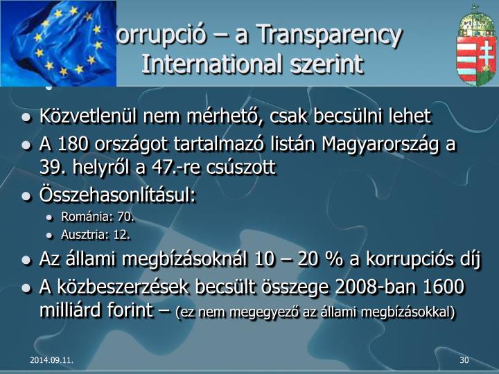 Korrupció – a Transparency International szerint