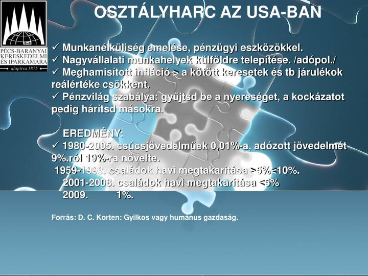 OSZTÁLYHARC AZ USA-BAN