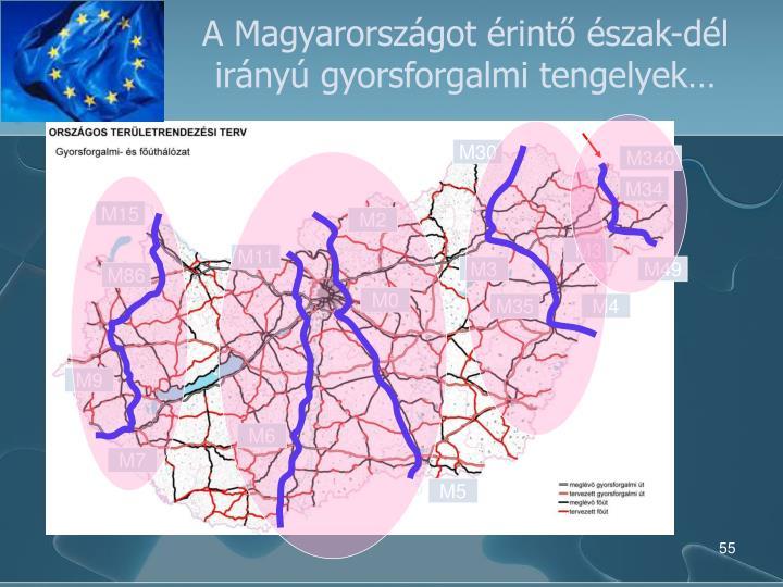 A Magyarországot érintő észak-dél irányú gyorsforgalmi tengelyek…