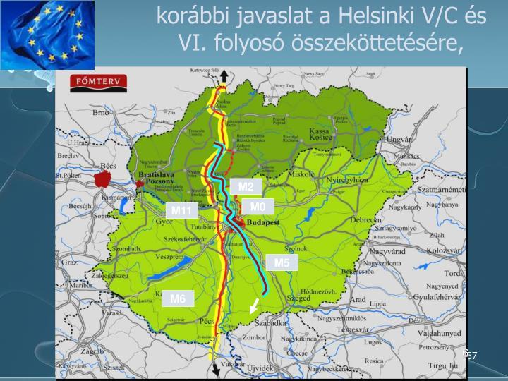 korábbi javaslat a Helsinki V/C és VI. folyosó összeköttetésére,