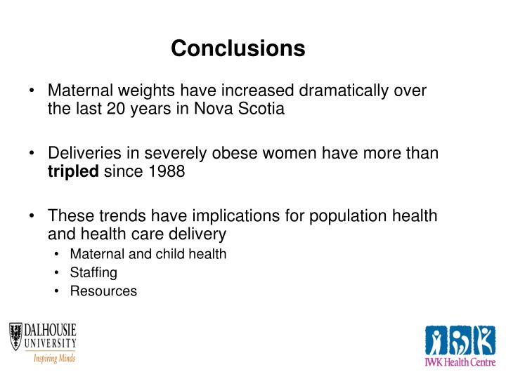 Maternal weights have increased dramatically over the last 20 years in Nova Scotia