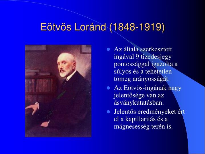 Eötvös Loránd (1848-1919)