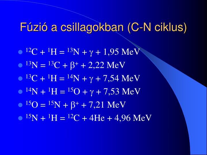 Fúzió a csillagokban (C-N ciklus)