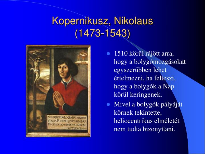 Kopernikusz, Nikolaus