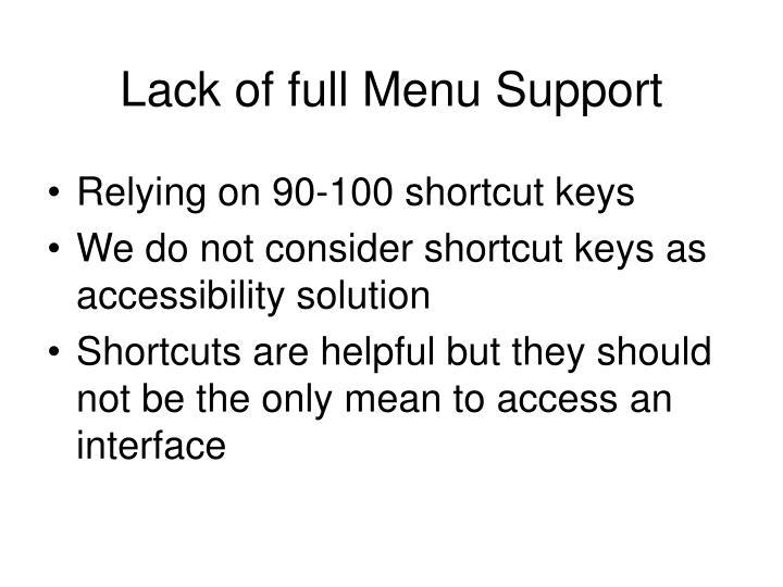 Lack of full Menu Support