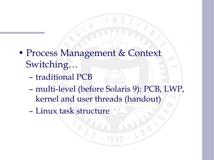 Process Management & Context Switching…