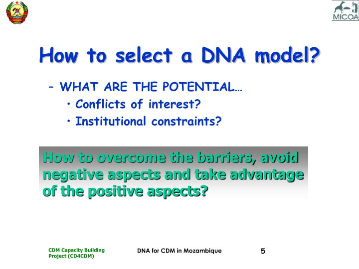 How to select a DNA model?