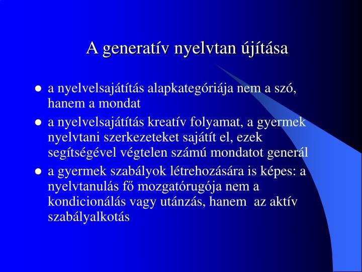 A generatív nyelvtan újítása