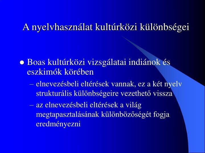 A nyelvhasználat kultúrközi különbségei