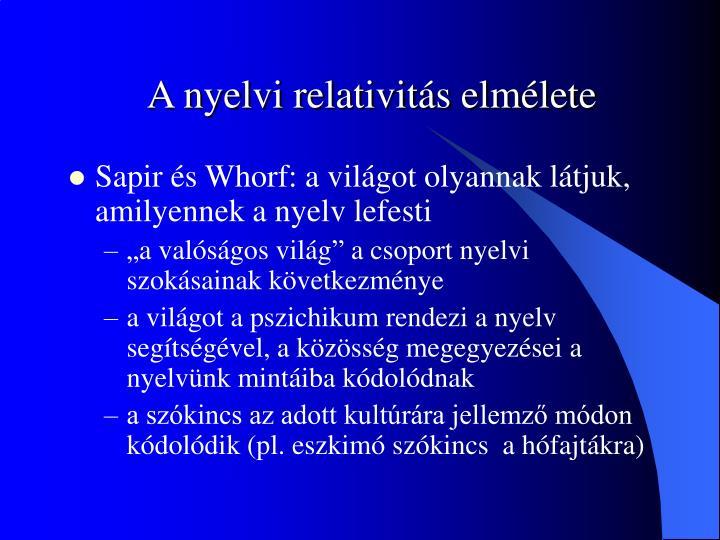A nyelvi relativitás elmélete