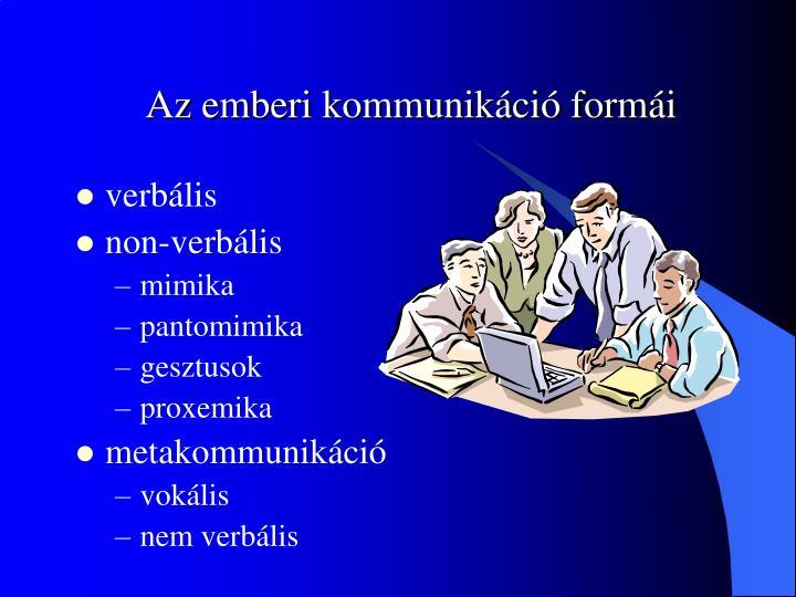 Az emberi kommunikáció formái