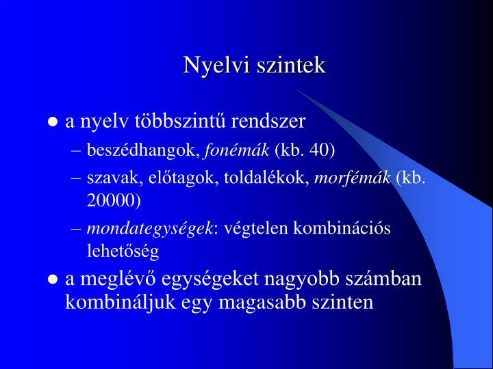 Nyelvi szintek