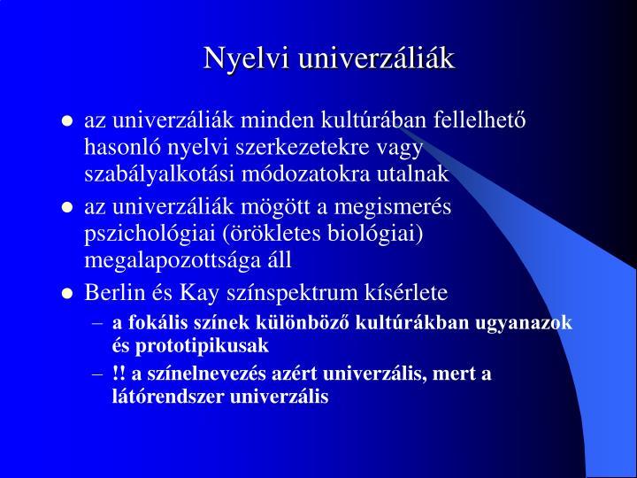 Nyelvi univerzáliák