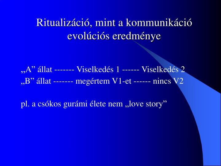 Ritualizáció, mint a kommunikáció evolúciós eredménye