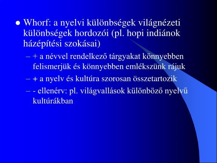 Whorf: a nyelvi különbségek világnézeti különbségek hordozói (pl. hopi indiánok házépítési szokásai)