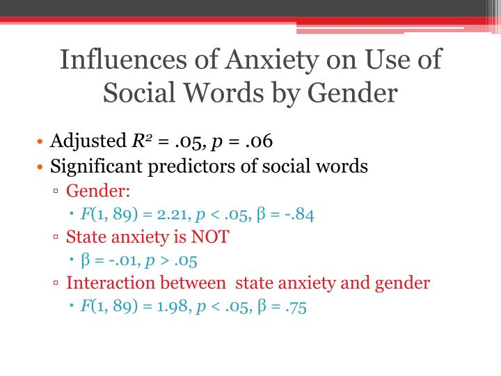 Influences of Anxiety on Use of Social Words by Gender