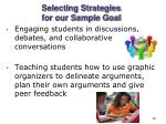 selecting strategies for our sample goal