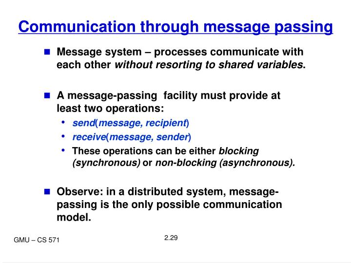 Communication through message passing