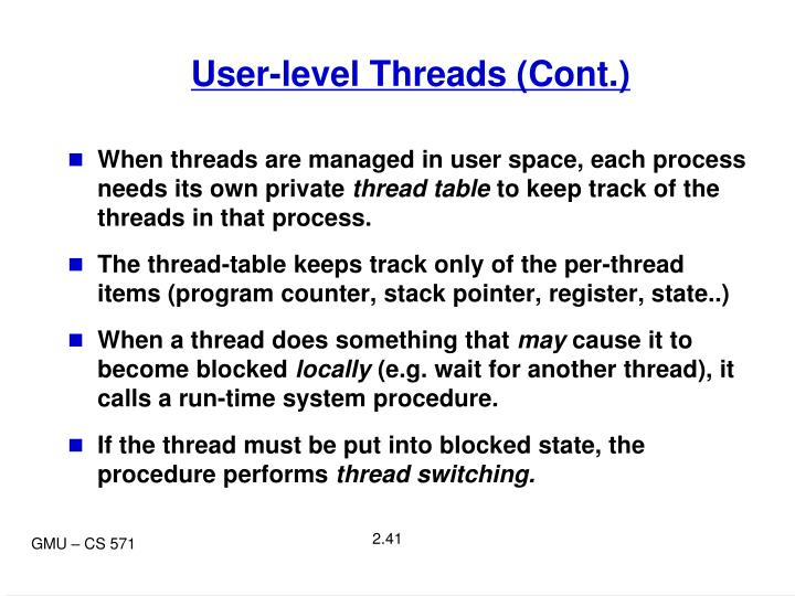 User-level Threads (Cont.)