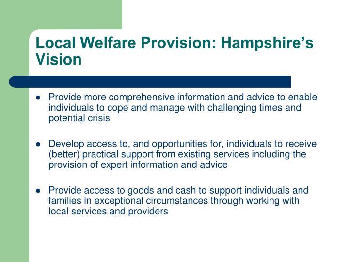 Local Welfare Provision: Hampshire's Vision