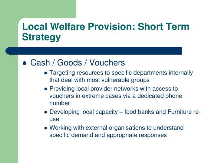 Local Welfare Provision: Short Term Strategy