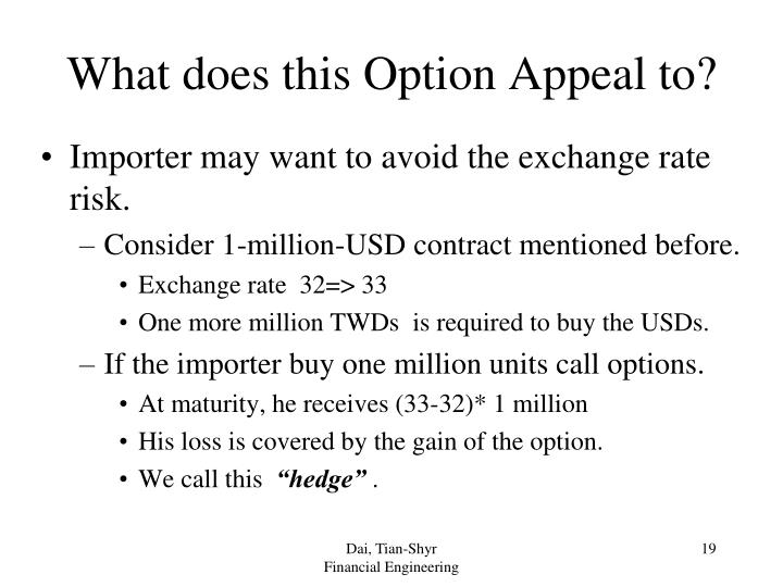 What does this Option Appeal to?