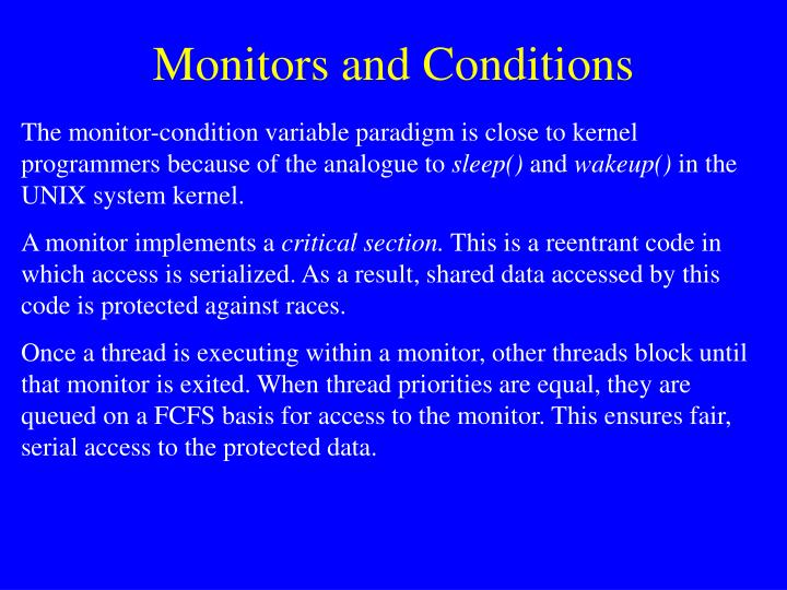 Monitors and Conditions