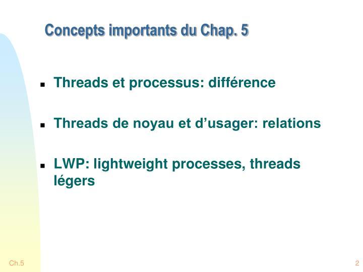 Concepts importants du chap 5