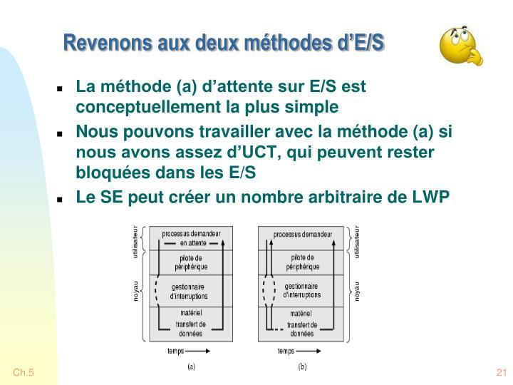 Revenons aux deux méthodes d'E/S