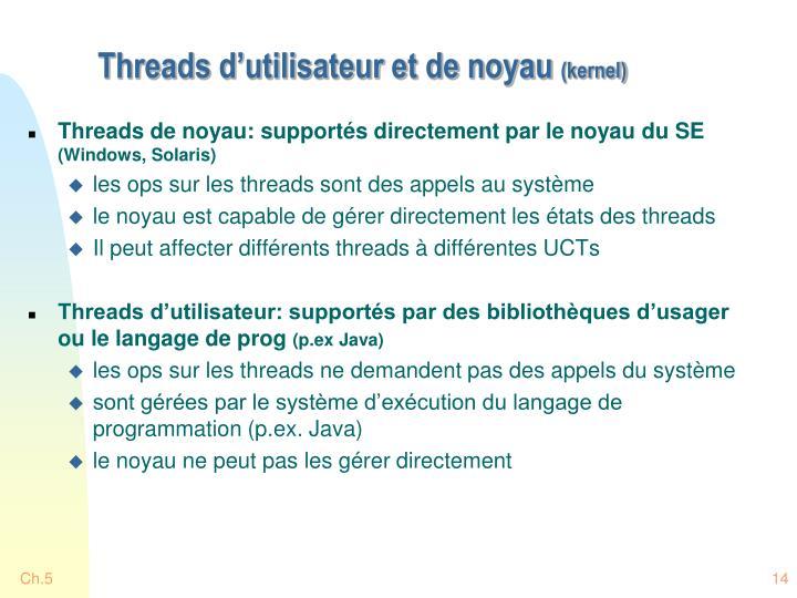 Threads d'utilisateur et de noyau