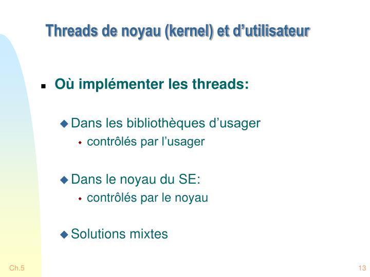 Threads de noyau (kernel) et d'utilisateur