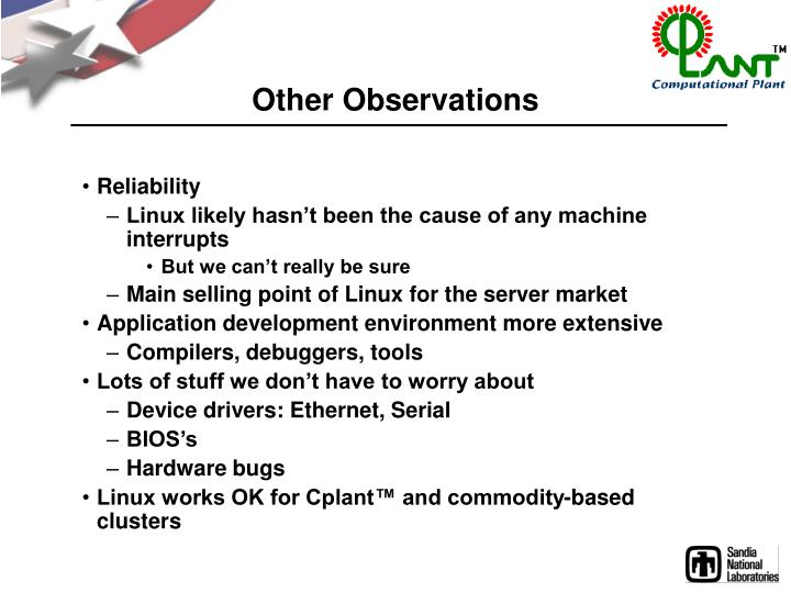 Other Observations