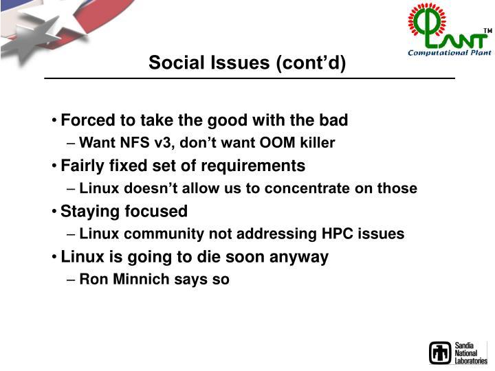 Social Issues (cont'd)